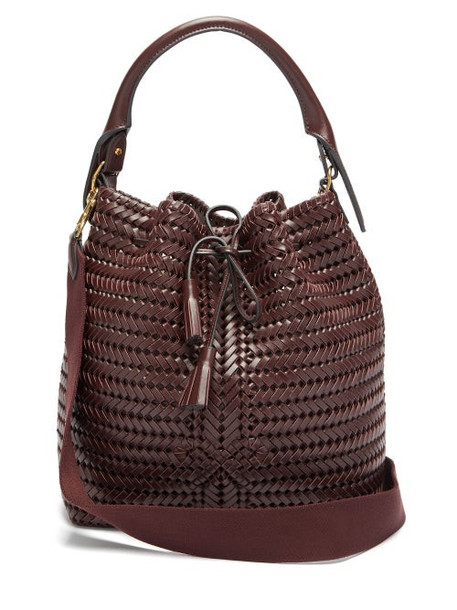 Anya Hindmarch - The Neeson Whipstitched Leather Bucket Bag - Womens - Burgundy