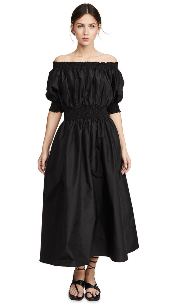 Adam Lippes Taffeta Smocked Dress in black
