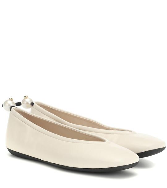 Nicholas Kirkwood Delfi leather ballet flats in white