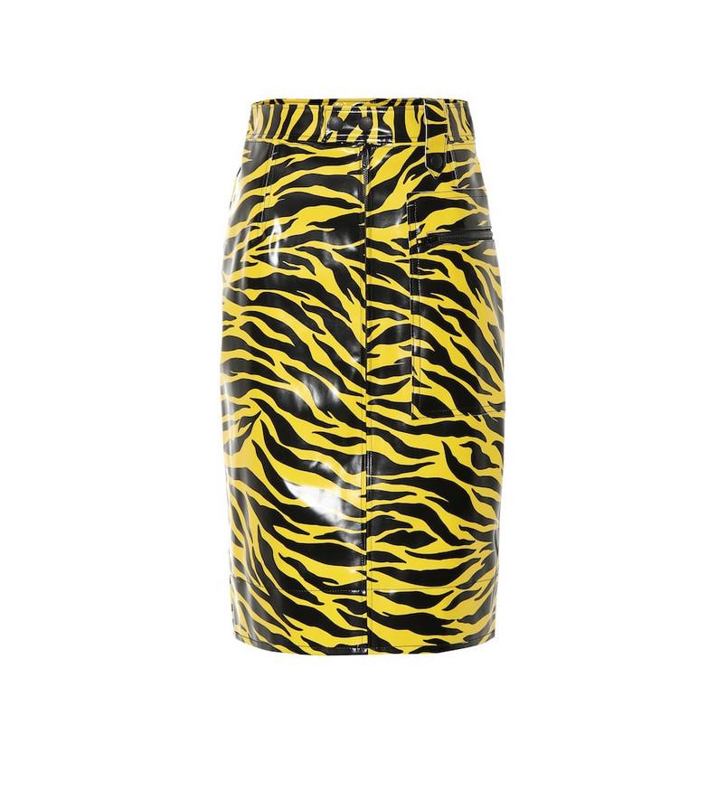 Kwaidan Editions Tiger-print vinyl skirt in yellow
