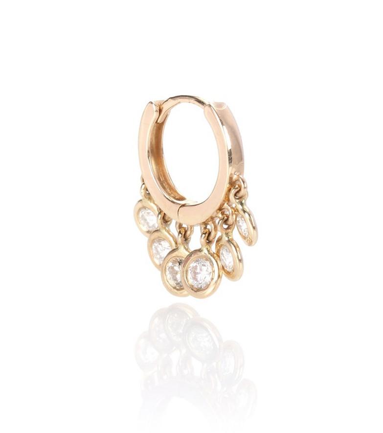 Jacquie Aiche Mini Shaker 14kt gold and diamonds single hoop earring