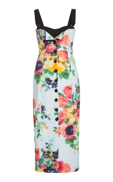 Carolina Herrera Floral-Print Stretch-Cotton Dress in multi