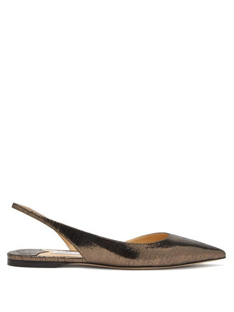 Jimmy Choo - Fetto Metallic Leather Slingback Flats - Womens - Silver