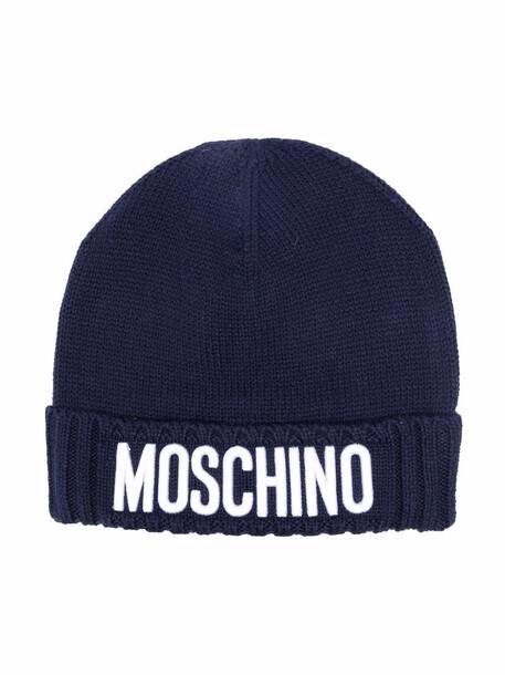 Moschino Kids logo print beanie - Blue
