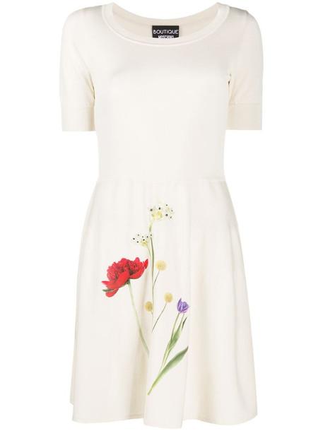 Boutique Moschino photographic-flower jersey mini dress in neutrals