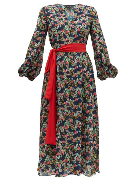 Saloni - Lucia Floral Print Silk Crepe De Chine Dress - Womens - Navy Multi