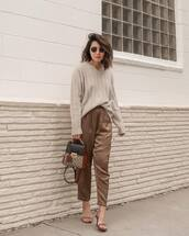 pants,high waisted pants,sandals,crossbody bag,v neck,knitted sweater