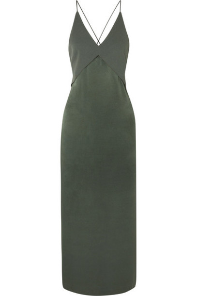 Dion Lee - Satin And Crepe Midi Dress - Green