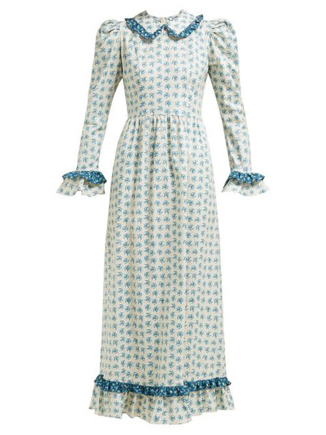 Batsheva - Ruffled Floral Print Cotton Dress - Womens - Cream Multi