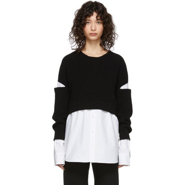 alexanderwang.t Black and White Bi-Layer Pullover Shirt Sweater