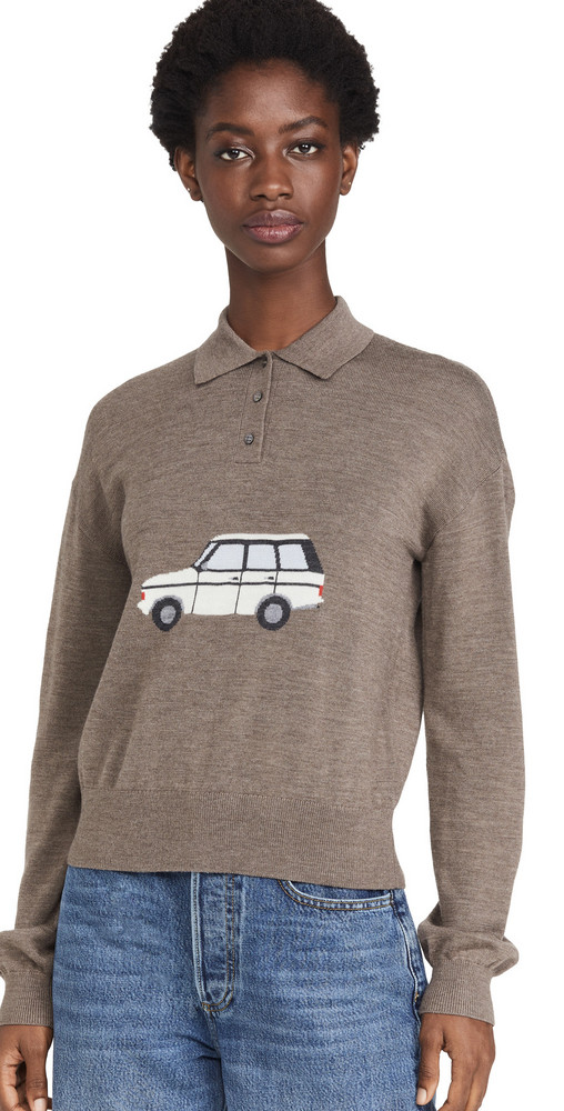 Sandy Liang Car Polo Sweater in brown