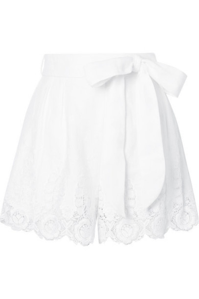 Miguelina - Liana Guipure Lace-trimmed Linen Shorts - White