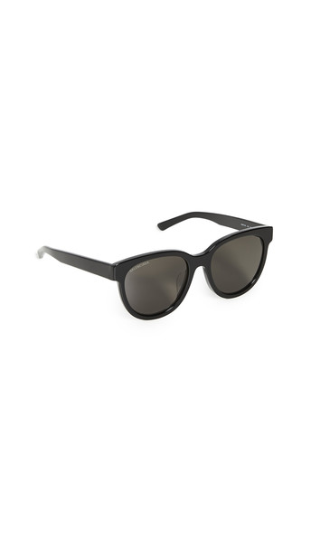 Balenciaga Block Cateye Acetate Sunglasses in black / grey