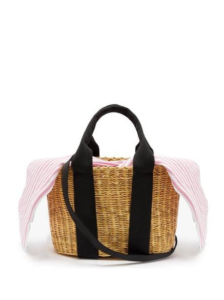 Muuñ Muuñ - Caba Mini Canvas And Woven Straw Bag - Womens - Pink Stripe