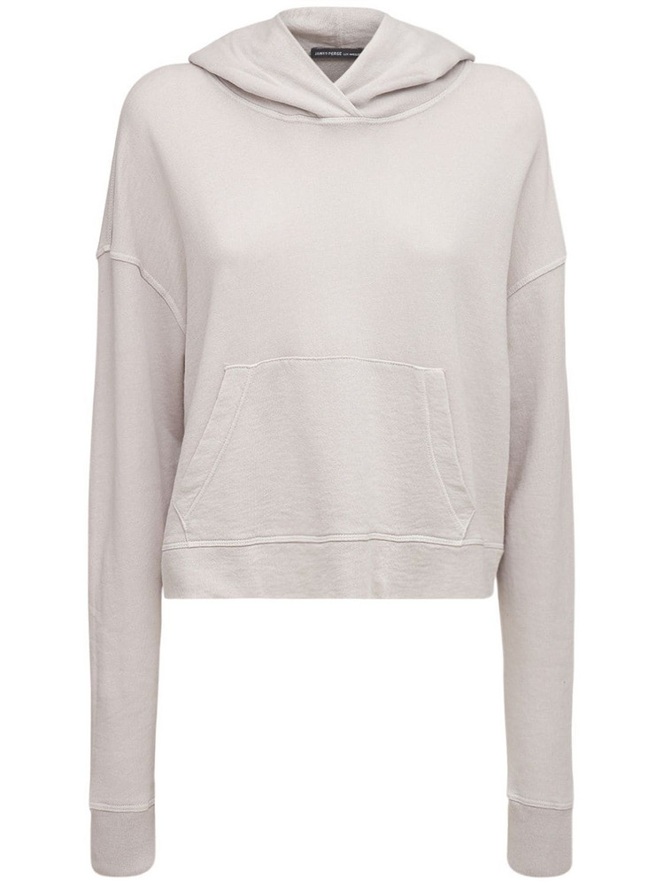 JAMES PERSE Relaxed Cotton Cropped Hoodie in beige