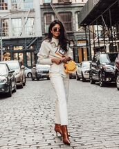 sweater,white sweater,cropped sweater,embellished,white pants,high waisted pants,brown boots,yellow bag,handbag