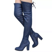 shoes,denim,blue,boots,jeans,lace,zip,heel,tight high,drawstring,dark blue