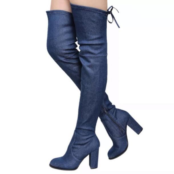 shoes denim blue boots jeans lace zip heel tight high drawstring dark blue