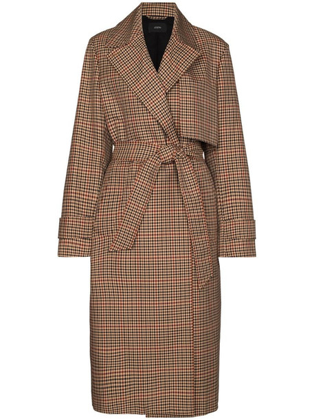 Joseph Chasa check-pattern trench coat in brown
