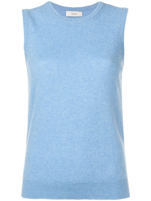 Pringle of Scotland sleeveless knitted top in blue