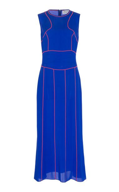 Maison Margiela Two-Tone Silk-Chiffon Midi Dress Size: 40 in blue
