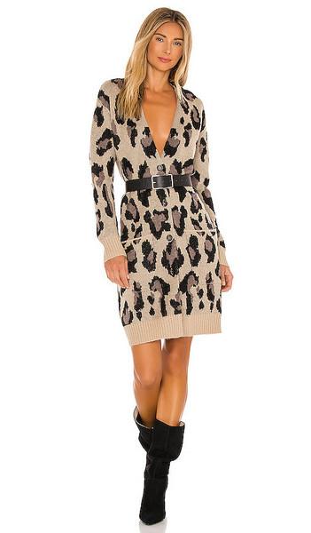 Pam & Gela Leopard Cardigan in Brown in natural