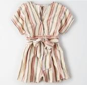 romper,stripes,striped romper,bow,pink,beige