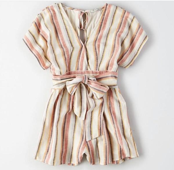 romper stripes stripes striped romper bow pink beige