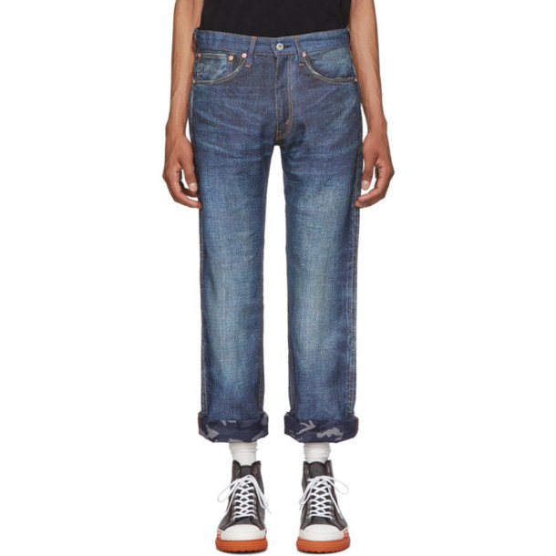 Junya Watanabe Indigo Levi's Edition Printed Linen Jeans