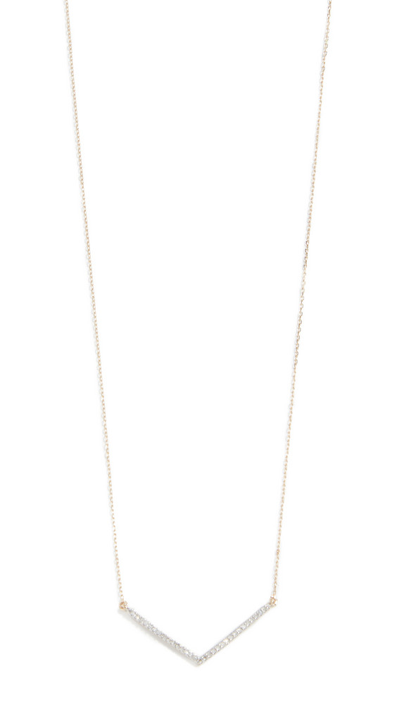 Adina Reyter 14k Large Pavé V Necklace in gold / yellow