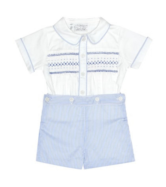 Rachel Riley Smocked cotton top and shorts set in blue