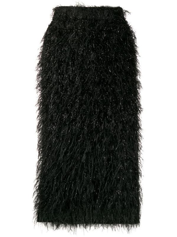 AMI Paris textured midi skirt in black