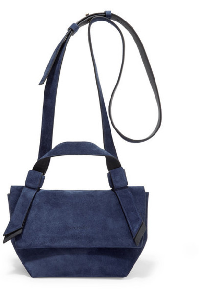 Acne Studios - Musubi Milli Small Knotted Suede Shoulder Bag - Navy