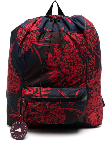 adidas by Stella McCartney floral pattern drawstring backpack in blue