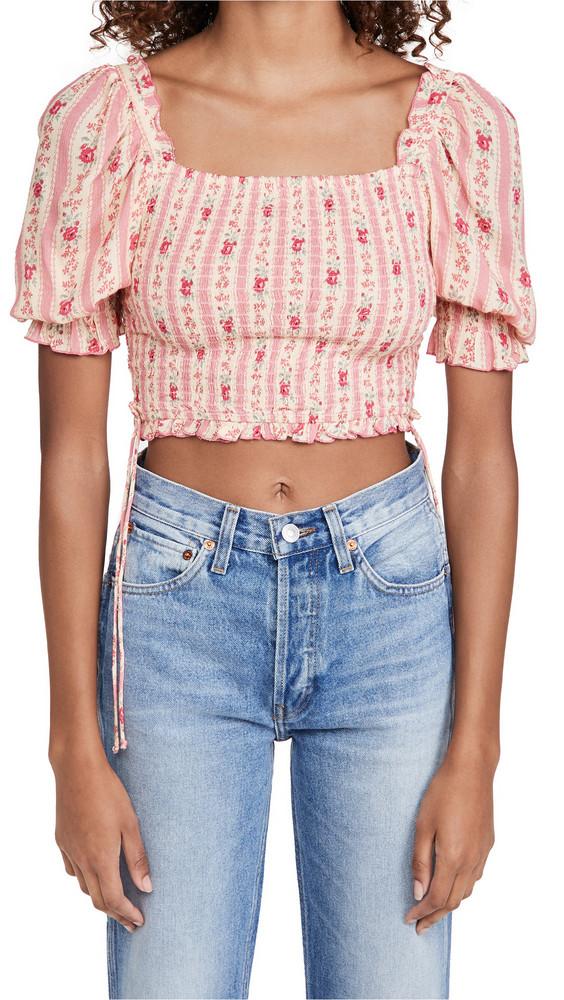 Playa Lucila Puff Sleeve Floral Crop Top in pink