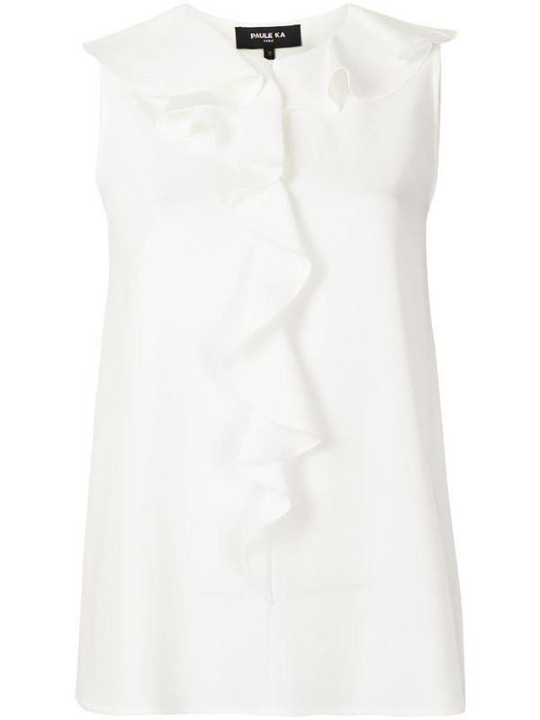 Paule Ka ruffle-embellished crepe top in white