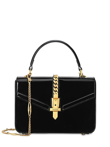 GUCCI Mini Sylvie Patent Leather Bag in black