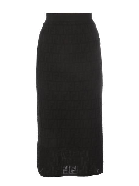 Fendi Ff Cotton Skirt in black