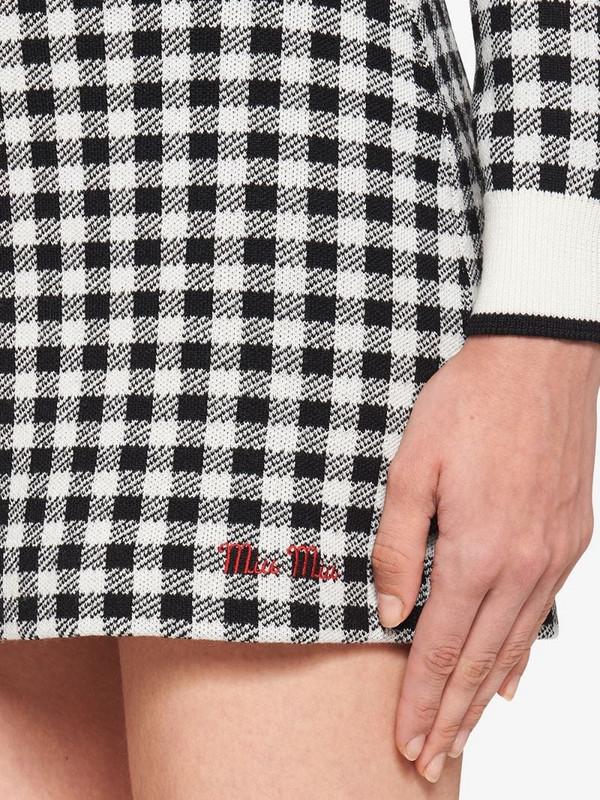 Miu Miu checked mini skirt in black