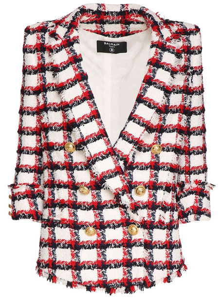 BALMAIN Checked Wool Blend Tweed Jacket in blue / red / white