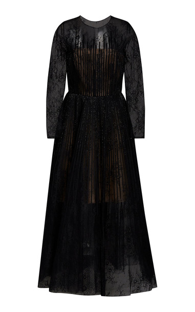 Oscar de la Renta Bead-Embellished Lace Cocktail Dress in black