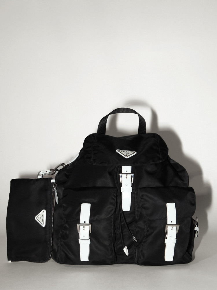 PRADA Nylon Canvas Backpack in black / white