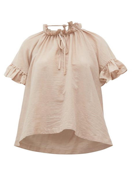 Loup Charmant - Marina Ruffle-trimmed Organic-cotton Top - Womens - Light Pink