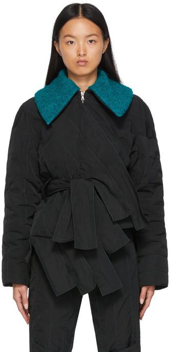 Paula Canovas Del Vas Twill Quilted Stripy Jacket in black