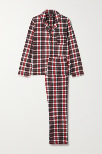DKNY - Checked Fleece Pajama Set - Red