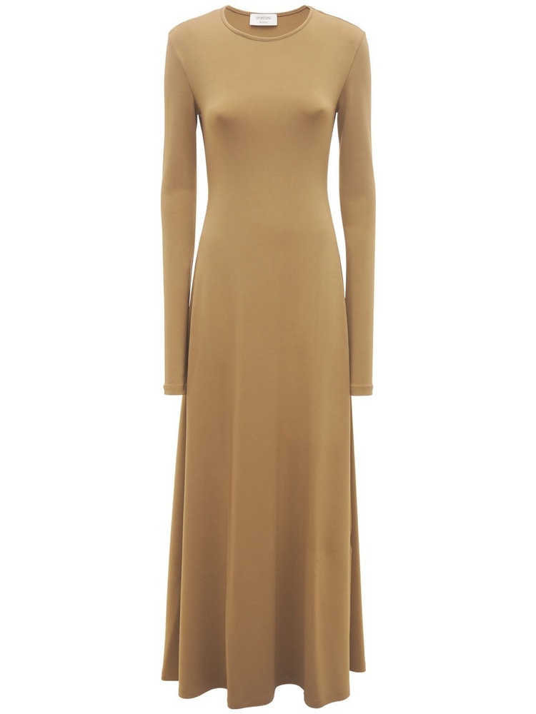 SPORTMAX James Jersey Viscose Knit Long Dress in khaki