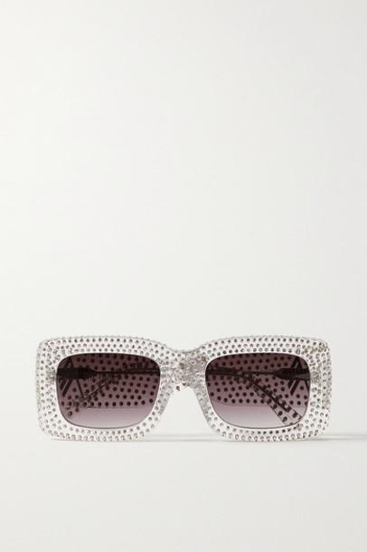 The Attico - Linda Farrow Stella Square-frame Crystal-embellished Acetate Sunglasses - Clear