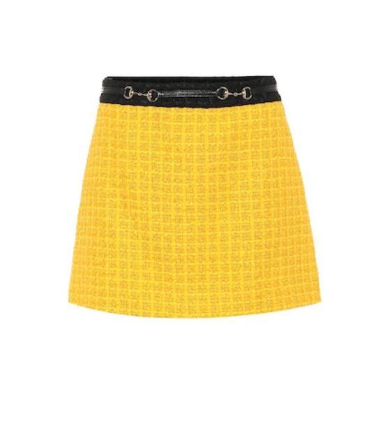 Gucci Tweed miniskirt in yellow