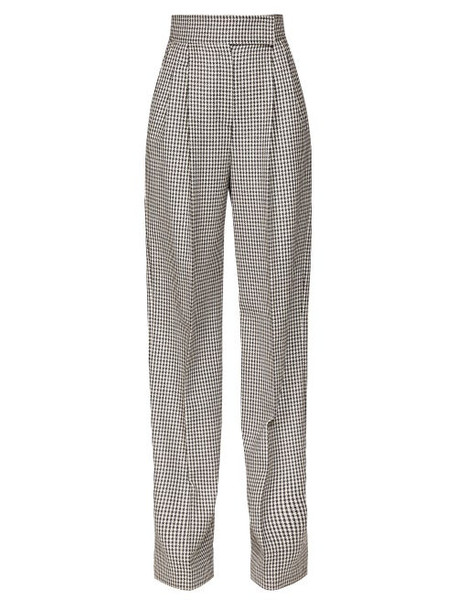 Alexander Mcqueen - Houndstooth High Rise Wide Leg Trousers - Womens - Black White