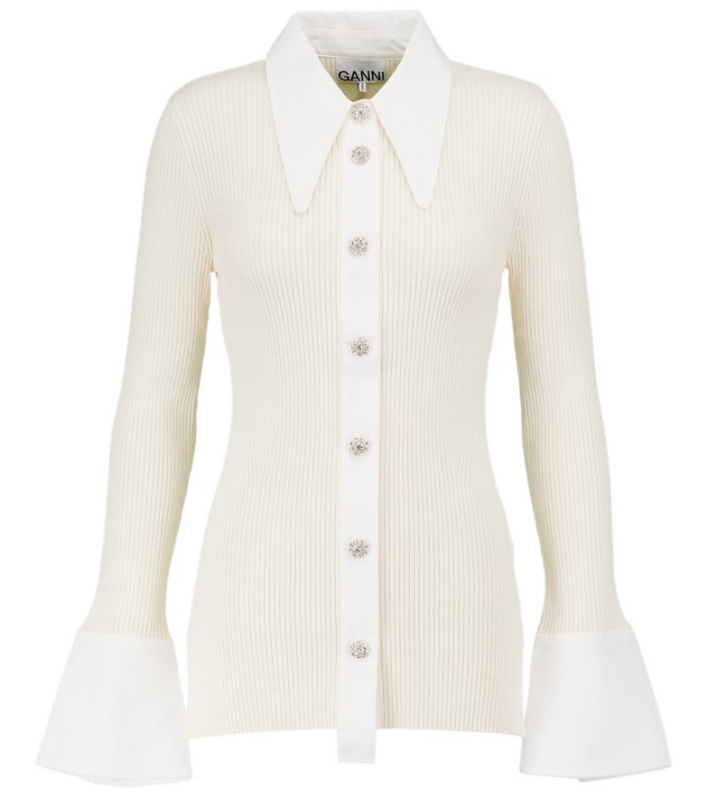 GANNI Ribbed-knit shirt in white